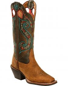 Tony Lama Women's Milled Buffalo Turquoise Top 3R Western Boots - Square Toe