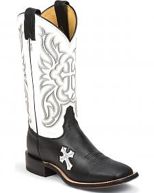 Tony Lama Women's Royal Black Cow San Saba White Top Western Boots - Square Toe