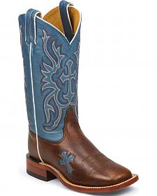Tony Lama Women's Dark Pecan Bison San Saba Blue Top Western Boots - Square Toe