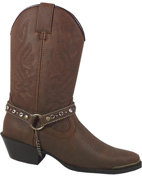 Smoky Mountain Charlotte Brown Harness Cowgirl Boots - Pointed Toe