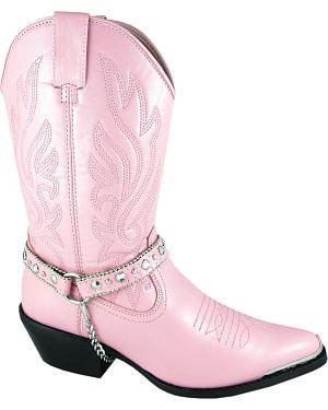 Smoky Mountain Charlotte Pink Harness Cowgirl Boots - Round Toe