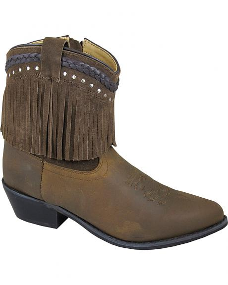 Smoky Mountain Torrance Brown Fringe Short Boots - Pointed Toe