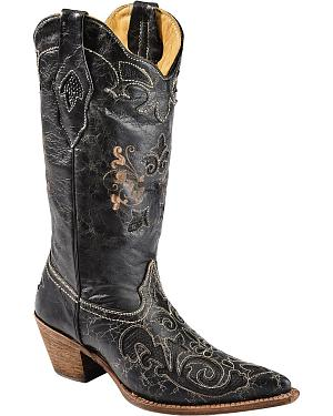 Corral Lizard Inlay Western Cowgirl Boots - Pointed Toe