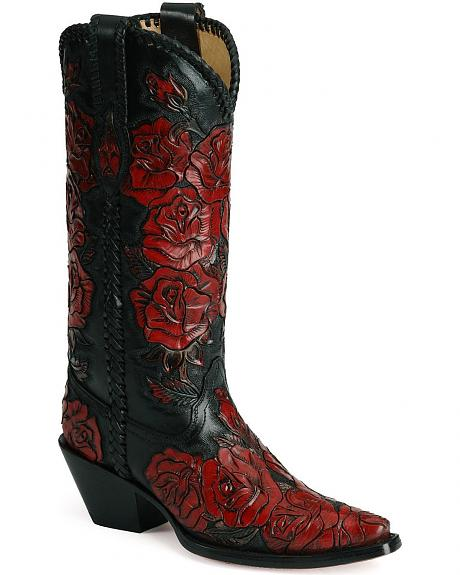 Corral Hand Painted Roses Cowboy Boots - Snip Toe