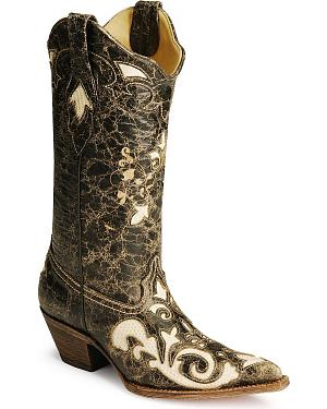Corral Lizard Inlay Black Cowgirl Boots