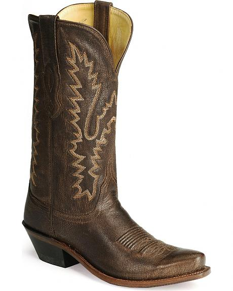 Old West Distressed Leather Cowgirl Boots  - Snip Toe