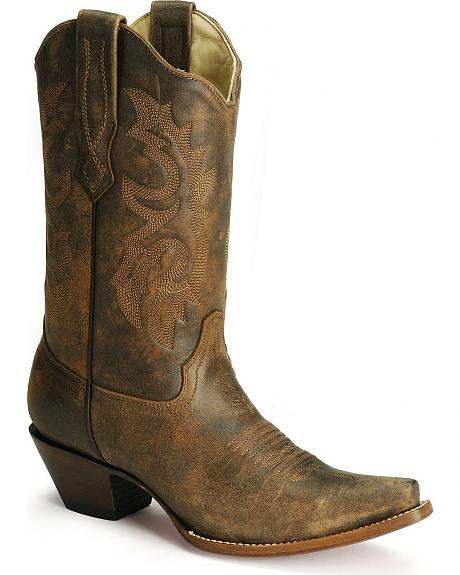 Corral Distressed Leather Western Cowgirl Boots - Snip Toe
