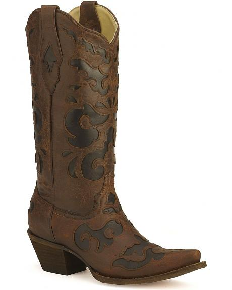 Corral Scroll Inlay Cowgirl Boots