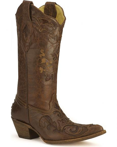 Corral Chocolate Lizard Inlay Western Cowgirl Boots - Pointed Toe
