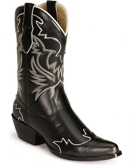 Black Wingtip Cowgirl Boots