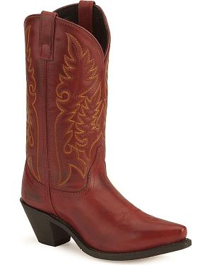 Laredo High Heel Red Cowgirl Boots - Snip Toe
