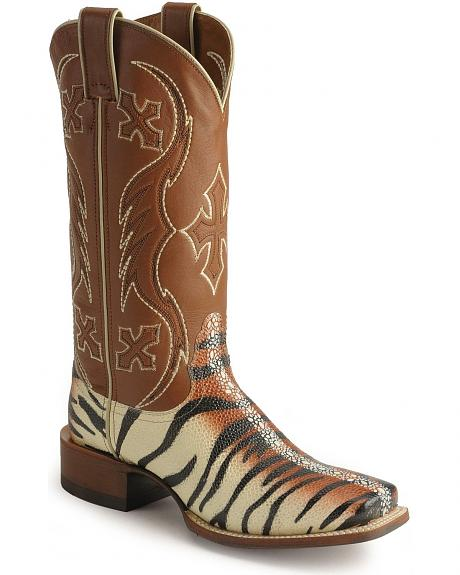 Nocona Tiger Stingray Print Cowgirl Boots
