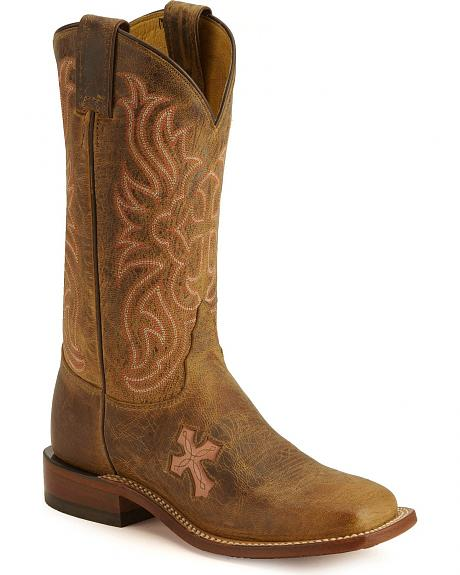 Tony Lama Cross Inlay Cowgirl Boots - Square Toe