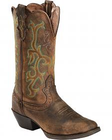 Justin Stampede Western Cowgirl Boots with Rubber Sole - Square Toe