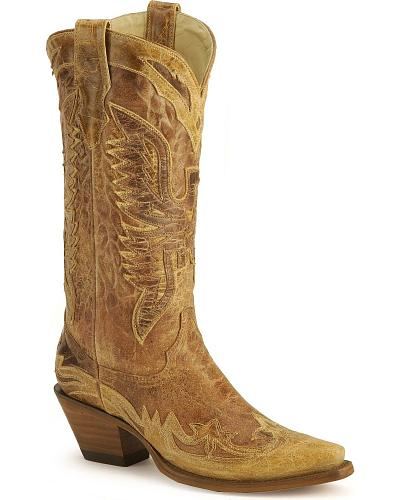 Corral Vintage Eagle Wingtip Cowgirl Boots Snip Toe Western & Country R2227