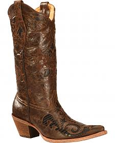 Corral Lizard Inlay Cowgirl Boots