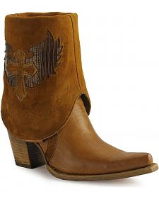 Corral cross lizard cuffed cowgirl boots