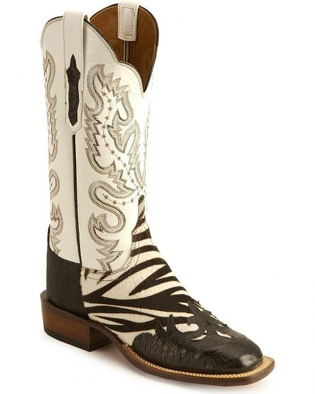 Lucchese Cowgirl faux zebra hair on hide croc wingtip boots