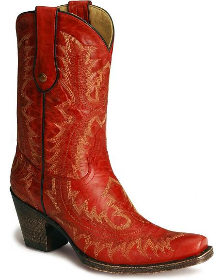Corral Short Red Cowgirl Boots