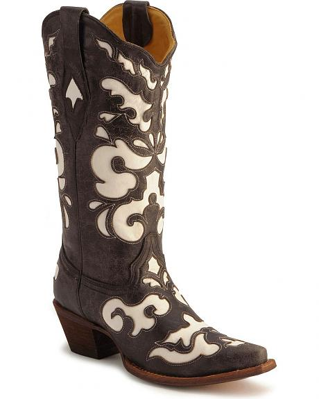 Corral White Leather Inlay Boots