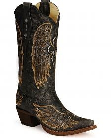 Corral Angel Wing Cross Cowgirl Boots - Snip Toe
