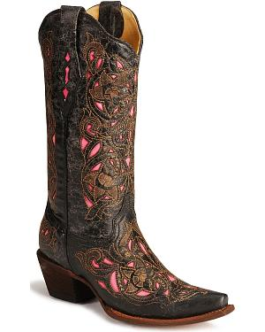Corral Womens Laser Pink Inlay Cowboy Boots - Snip Toe