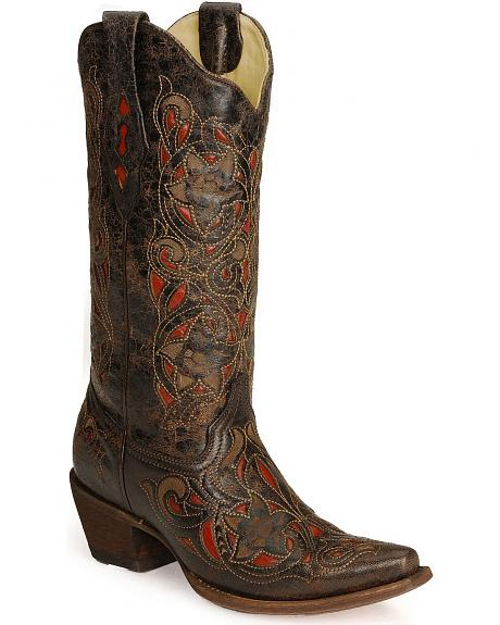 Corral Laser Red Inlay Cowboy Boots