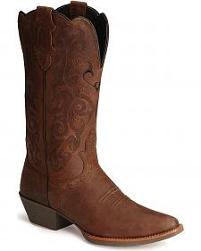Justin Stampede Western Cowgirl Boots with Rubber Sole - Snip Toe