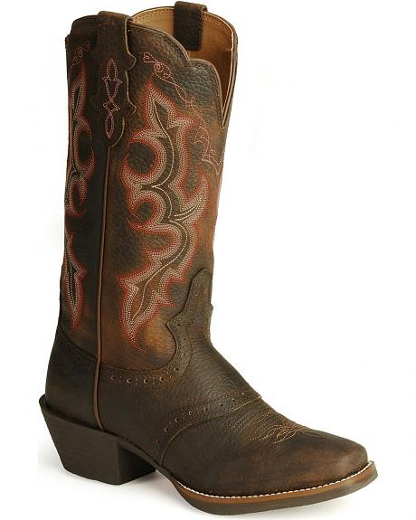 Justin Stampede Punchy Leather Cowgirl Boots