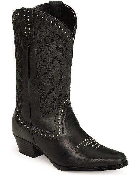 Oak Tree Farms Studded Black Leather Cowgirl Boots
