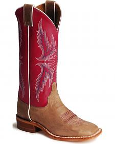 Justin Bent Rail Hot Pink Cowgirl Boots - Square Toe