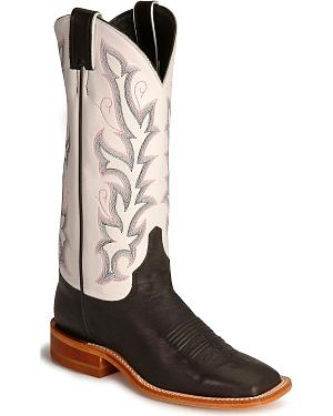 Justin Bent Rail Black Calf Cowboy Boot - Square Toe
