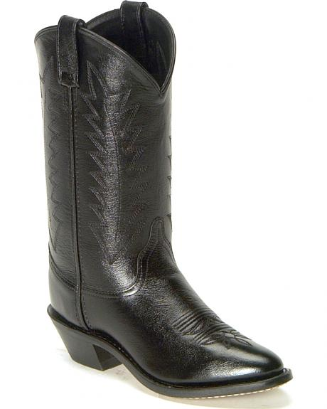 Old West Black Corona Leather Cowboy Boots - Med Toe