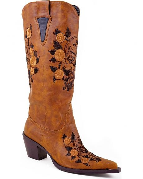 Roper Skull & Floral Embroidered Cowgirl Boots - Pointed Toe
