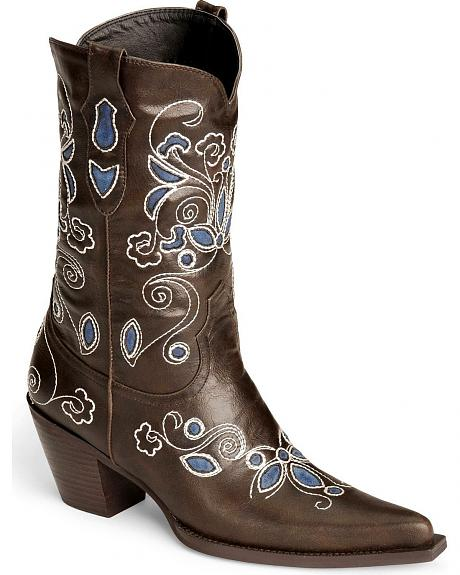 Roper Floral Embroidered & Inlay Cowgirl Boots - Pointed Toe