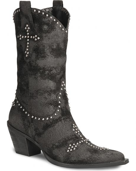 Roper Cross Studded Faux Suede Leather Cowgirl Boots - Pointed Toe