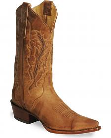 Nocona Old West Tan Cowboy Boots - Snip Toe