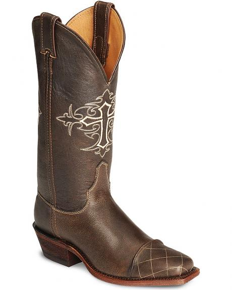 Justin Bent Rail Cross Cowgirl Boot - Square Toe