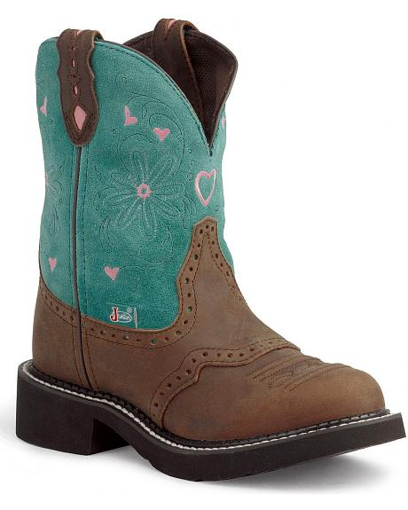Justin Gypsy Turquoise Cowgirl Boots - Round Toe