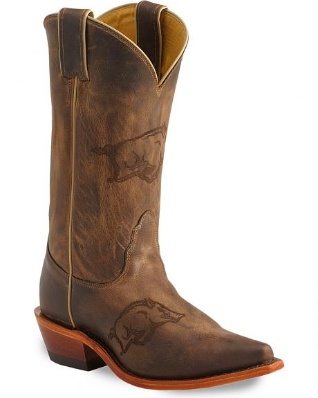 Nocona Arkansas Razorbacks College Boots - Snip Toe