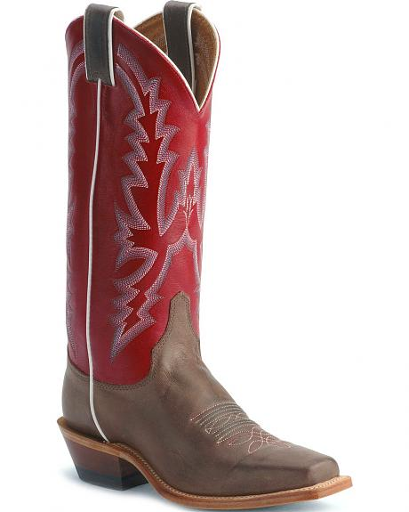 Justin Bent Rail Red Cowgirl Boots - Square Toe