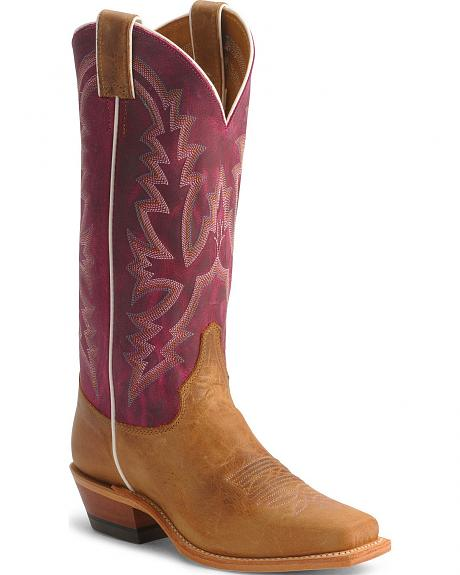 Justin Bent Rail Violet Cowgirl Boots - Square Toe
