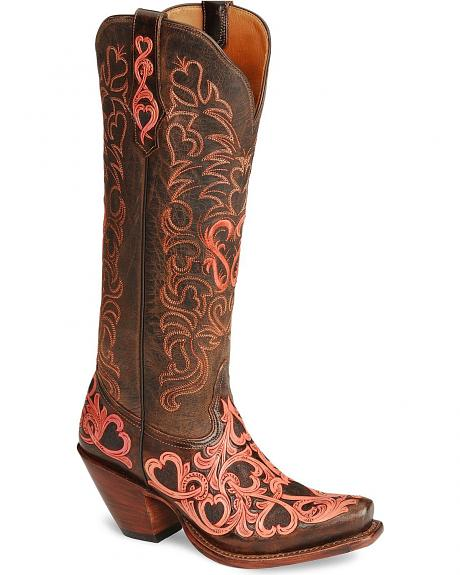 Tony Lama Signature Series Embroidered Hearts Cowgirl Boots - Snip Toe
