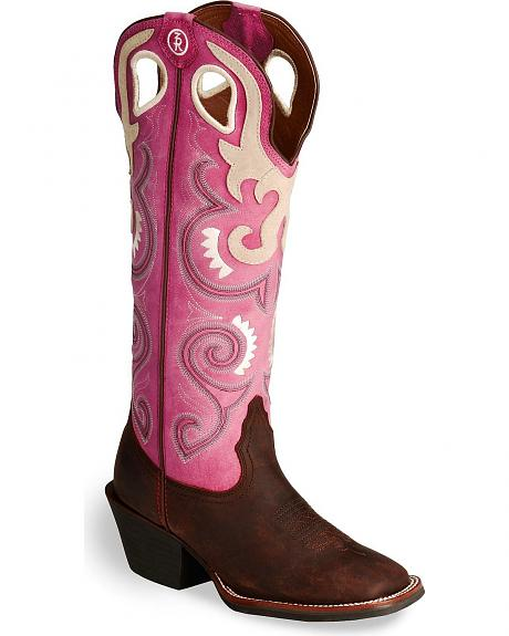 Tony Lama 3R Buckaroo Pink Cowgirl Boot - Wide Square Toe