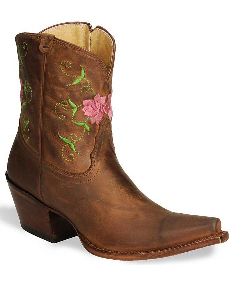 Tony Lama Vaquero Fancy Floral Embroidered Cowgirl Boots - Snip Toe