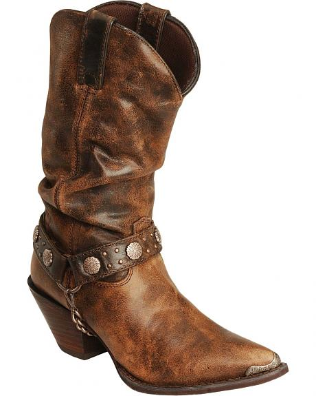Durango Chocolate Slouch Harness Cowgirl Boots - Pointed