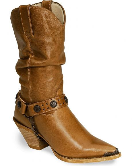 Durango Tan Slouch-I-Tude Concho Harness Cowgirl Boot - Pointed
