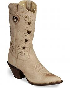 Durango Crush Taupe Heart Cut-out Cowgirl Boots - Pointed Toe