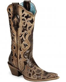 Corral Chocolate Tooled Cowgirl Boot - Pointed Toe