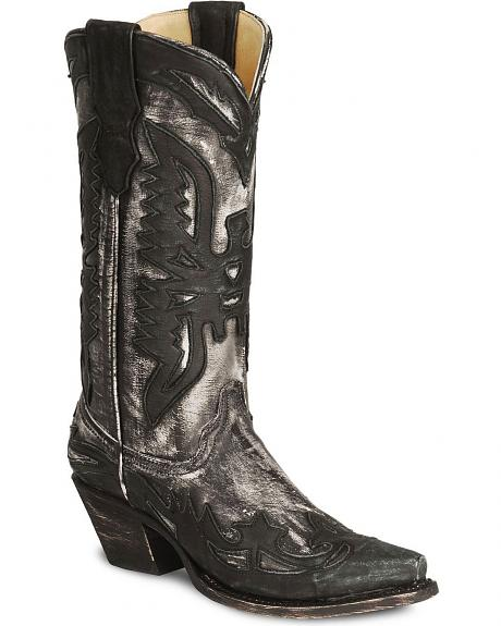 Corral Distressed Eagle Wingtip Cowgirl Boots - Snip Toe